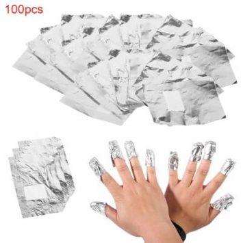 Silver 100pcs Aluminium Foil Nail Art Soak Off Acrylic Gel Polish Nail Wraps Remover