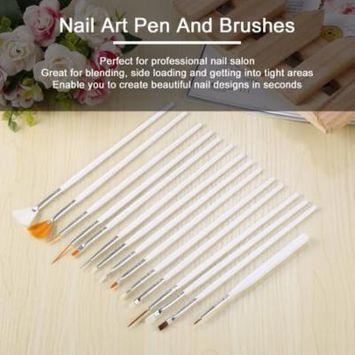 White+Golden 15Pcs Cosmetic Nail Art Polish Painting Draw Pen Brush Tips Tools Set UV Gel