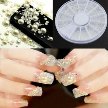 Nail stickers 3D Fashion Nail Art Tips Pearl Acrylic Gem Glitter Manicure DIY Decoration
