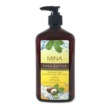 Shea Butter Shower Gel 18 ounce (Paraben FREE) with Pump by Mina Organics. Factory Fresh!