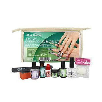 Mia Secret Brush on Clear Acrylic & Gel Kit UV Powder Prep Primer Top Coat Glue + Free Temporary Body Tatoo!