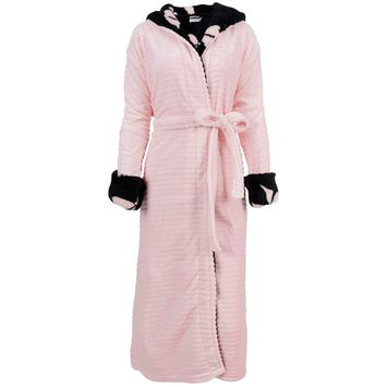 Hooded Robe Womens Winter Luxurious Soft Plush Fleece Kimono Bathrobe,Pink