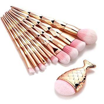 Datework 11PCS Make Up Foundation Eyebrow Eyeliner Blush Concealer Brushes