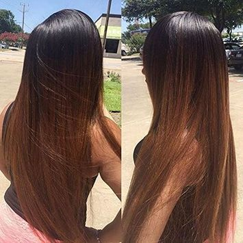 Ombre #30 Synthetic Lace Front Wigs Straight Two Tone Heat Resistant Hair Wig #1B/#30 Long Lace Front wigs For Black Women
