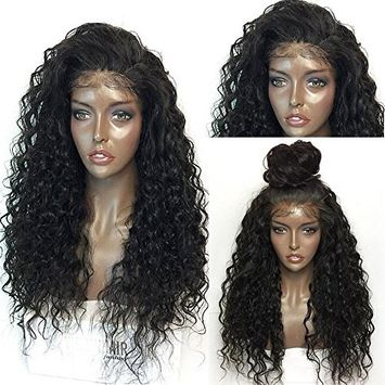 Synthetic kinky curly glueless lace wig 26inch 150% three comsb&adjustable straps stock [26in]