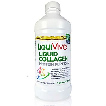 LiquiVive Collagen Liquid Protein Peptides Supplement - Pure Super Collagen Hydrolysate Drink Offers Higher Absorption Than Collagen Powder, Pills and Capsules. Type 1 and 3