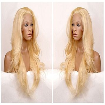 Long natural wavy blonde #613 synthetic hair lace front wig free part [26in]
