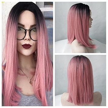 Black Ombre Pink Short Straight Bob Synthetic Lace Front Wig Women High Temperature Short Hairstyles Natural Looking Wig [16inch]
