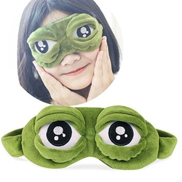 DZT1968 1PC green Cute Sad creative 3D Eye Mask Cover Sleeping Rest Anime Funny Gift
