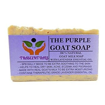 Lavender Soap Made With Real Goat's Milk and Essential Oils To Be Extra Moisturizing Comes in Gift Box Helps With Dry Skin, Acne, Eczema, and Psoriasis