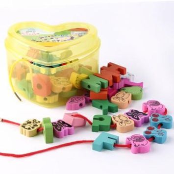 60 pieces Colorful Wooden Lacing Beads Animals Blocks Heart-shape Box Threading Educational Toy for Children