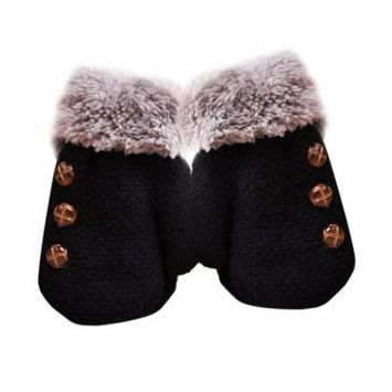 Children Warm Gloves Boys And Girls Gloves Baby All Cover Fingers Gloves Winter Gloves Double Thickened Buttons Decoration
