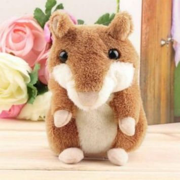 Lovely Talking Hamster Plush Toy Hot Cute Speak Talking Sound Record Toy, change voice Record Sounds, Nod Head or Walk, Early Education for Baby