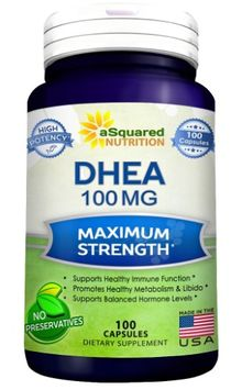 Asquared Nutrition Pure DHEA (100mg Max Strength, 100 Capsules) to Promote Balanced Hormone Levels for Women & Men - Natural DHEA Supplement Pills to Support a Healthy Libido, Brain, Immune Function, Energy & Metabolism