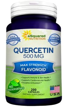Asquared Nutrition Pure Quercetin 500mg Supplement - 200 Capsules - Quercetin Dihydrate to Support Cardiovascular Health - Max Strength Powder Complex Pills to Help Improve Anti-Inflammatory & Immune Response