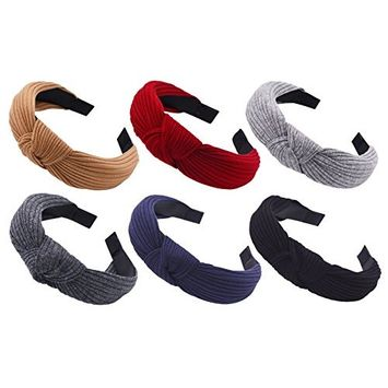 STHUAHE Pack of 6 Women Wide Stripes Cloth Cross Knot Hair Hoop Hairband Headband Hair Accessories