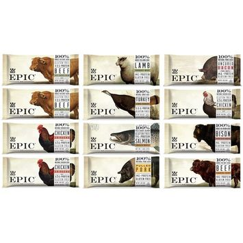 Epic Bars Variety 12 Pack - 100% Animal-Based Whole Protein, Best Kind of Jerky, Perfect For Paleo (Beef, Turkey, Salmon, Chicken, Bison, Lamb, Wild Boar) …