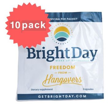 BrightDay Hangover Prevention Pills (10-Pack Sample Packets)