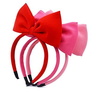 STHUAHE 3PCS Different Colors Girls Handmade Sweet and Lovely Style Standing Red Big Bow Knot Hair Hoop Hairband Headband Headwear Hair Accessories...