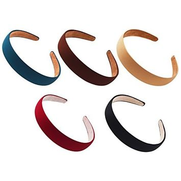 STHUAHE 5 PCS Women Gril Retro Simple Style Broadside Solid color Hair Hoop Hairband Headband Headwear Hair Accessory