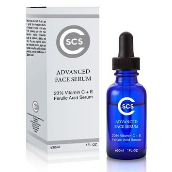CSCS Ferulic Acid Serum with Vitamin C + E for Wrinkles, Lines, Sunspots and Puffiness - Antioxidant Serum for Face, Neck and Eyes