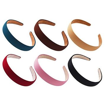 STHUAHE 6 PCS Women Gril Retro Simple Style Broadside Solid color Hair Hoop Hairband Headband Headwear Hair Accessory
