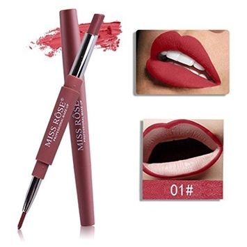 Hatop Double-end Lipliner, Waterproof Lasting Lip Liner Stick Pencil Lipstick Pen 8 Color