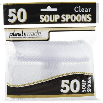 [100 Clear Soup Spoons] Plastimade Disposable Heavy Duty Plastic Cutlery,Great for Every Day Use, Home, Office, Party, Picnics, or Outdoor Events,: Kitchen & Dining