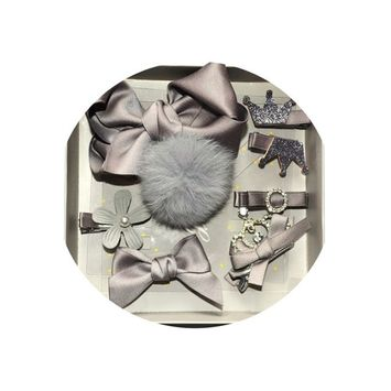 Stylish Set Hair Bows For Baby Girl Durable Metal Hair Clips Girls Teens Toddlers Kids Children Hair Accessories Pack Of 8pcs [grey]