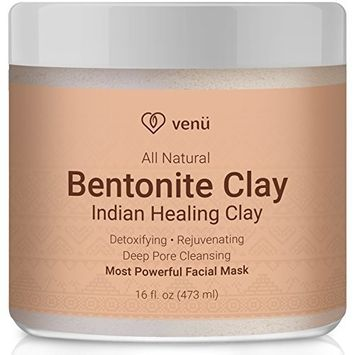 Bentonite Clay Mask – Deep Cleansing Pore Minimizer Facial Acne, Stretch Marks, Scars and Blackhead Treatment - All Natural Ingredients – by Venu