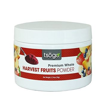 Tsogo Harvest Fruits Powder Blend, Premium Whole Fruit Powder, 78g 48 Servings of Premium Quality 100% Freeze-Dried Bananas, Strawberries, peaches & Blueberries - No Added Flavors, Fillers or Sugars