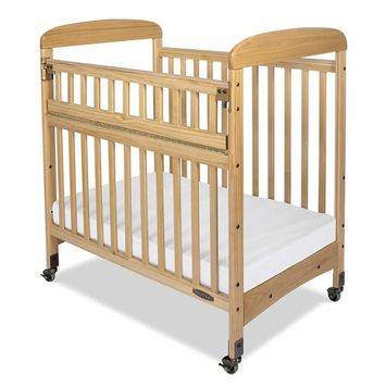 Child Craft Avery SafeAccess Portable Non-Folding Compact Wood Crib, Natural