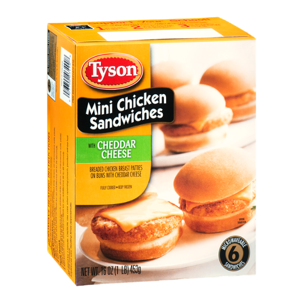 Tyson Mini Chicken Sandwiches with Cheddar Cheese - 6 CT