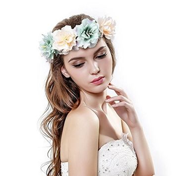 Pretty See Flower Crown Delicate Women Headband Crown Floral Garland Headbands /Halo/coachella /Edc /Hippie Flower Headband /Garden Party / Wedding,Set of 2