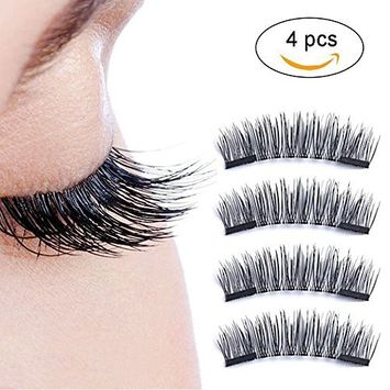 Magnetic False Eyelashes, Triple 3 Magnetic 0.2mm Ultra Thin 3D Reusable Fake Lashes,No Glue Required,Full Size Natural Look 1 Pair (4 Pieces)