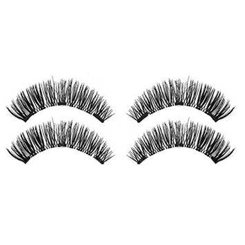 SODIAL 1 pair / 4pcs Natural Three Magnet 3D Long Magnetic False Eyelashes Soft Eye Makeup Eye Lash Extension Make Up Tools KS05-3