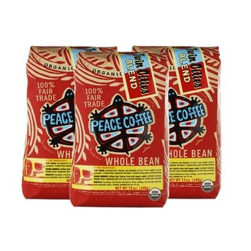 Peace Coffee Twin Cities Blend Whole Bean (3 pack) - USDA Certified Organic Coffee - Fair Trade Coffee - Fresh Dark Roast