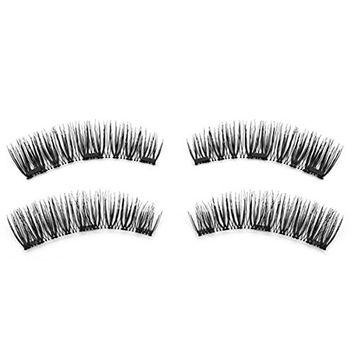 SODIAL 1 pair / 4pcs Natural Three Magnet 3D Long Magnetic Fal Eyelashes Soft Eye Makeup Eye Lash Extension Make Up Tools KS07-3