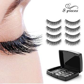 Magnetic eyelashes No Glue Needed Premium Quality 3D Reusable Lashes Extension 0.2mm Ultra Thin Dual Magnets lashes,Natural Look 4 Pair/8 Pieces