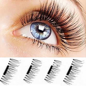 Morink 3D Reusable False Magnetic Eyelashes Ultra-thin 0.2mm,2 Pair 4 Pieces-No Glue Required