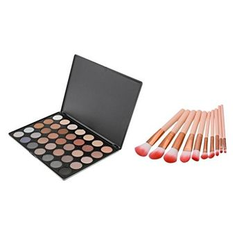 MagiDeal 10pcs Premium Foundation Makeup Brushes Set +35 Colors Shimmer Eyeshadow Palette