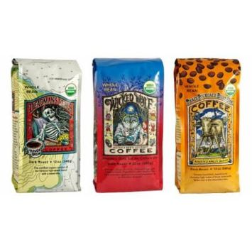 Raven's Brew Whole Bean Organic Coffee Variety Pack, 12 Ounce (Pack of 3)