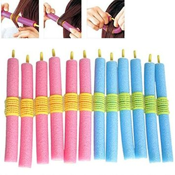 12 Pretty Bendy Hair Rollers,Curler Makers Soft Foam Bendy Twist Curls Styling Hair Rollers