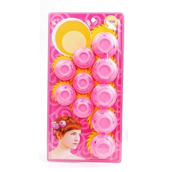 Silicone Hair Curlers Heat Hair Curlers Magic Soft Rollers Hair Care DIY Styling Tools 10pcs (pink)