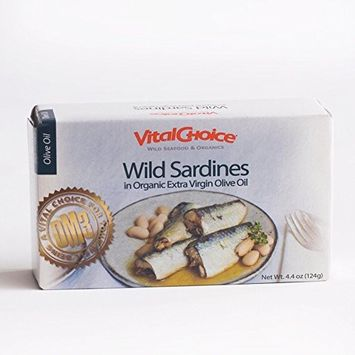 Vital Choice Wild Portuguese Sardines in Organic Extra Virgin Olive Oil - 4.4-Ounce cans, Pack of 6