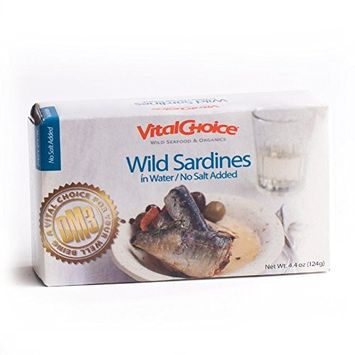 Vital Choice Wild Portuguese Sardines in Water No Salt or Oil Added - 4.4 Ounce cans, Pack of 6