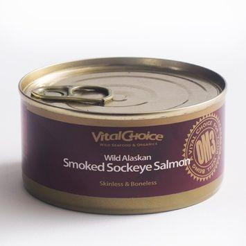 Vital Choice Wild Alaskan Smoked Sockeye Salmon, 5.5 Ounce cans, Pack of 6