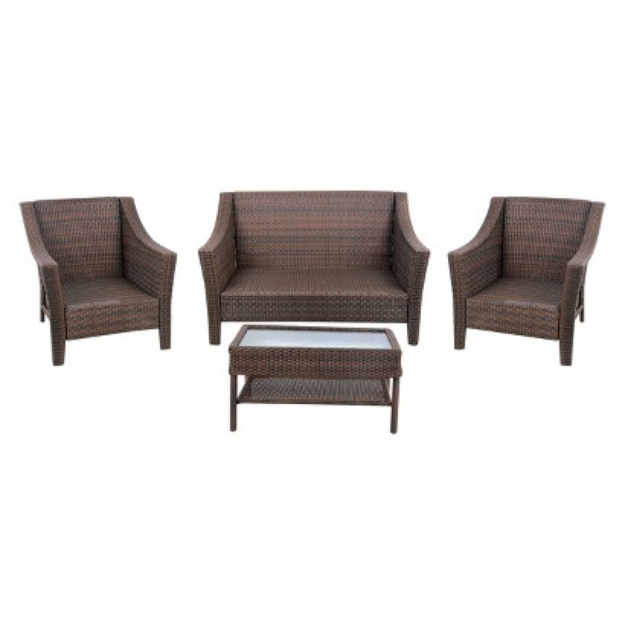 Threshold Rolston Wicker Conversation Set 4 Pieces Reviews