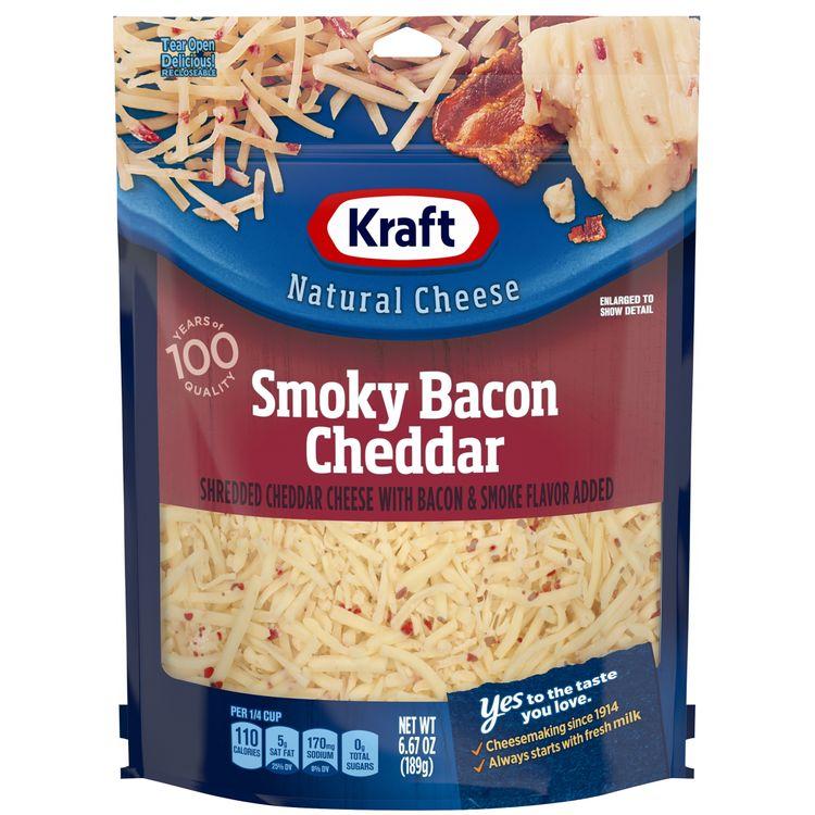 Kraft Shredded Smoky Bacon Natural Cheddar Cheese