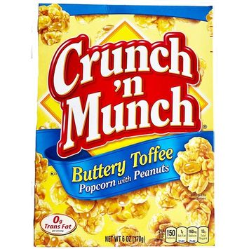 Crunch 'n Munch Buttery Toffee Popcorn with Peanuts, 6 oz. (Pack of 2)